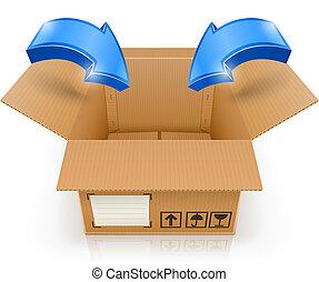 Offene Box mit Pfeil im Inneren