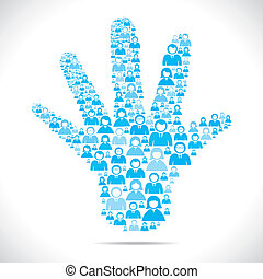 Offene Hand mit Leuten