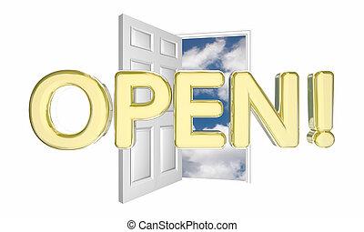 Offene Tür neue Geschäfts-Grand Eröffnung 3d Illustration.