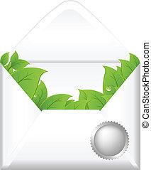 Offener Umschlag mit Blättern