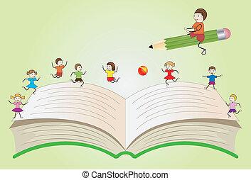 Offenes Buch mit Kindern spielen.