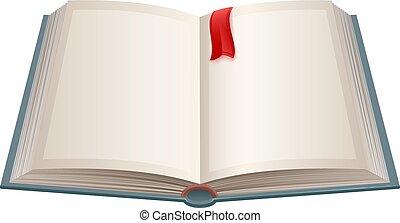 Offenes Buch mit leeren Blättern und roten Lesezeichen