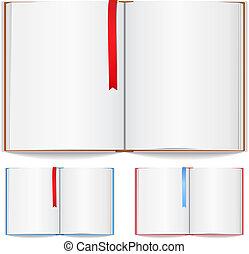 Offenes Buch mit Lesezeichen