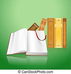 Offenes Buch und Stapel alter Bücher als Lese Hintergrund.