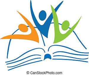 Offenes Buch und Studenten sind Logo
