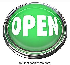 Offenes rundes grünes Knöpfe-Eröffnungsgeschäft oder drücken zum Start