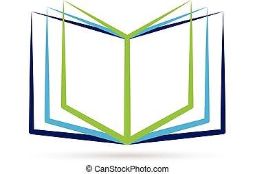 Offenes stilisiertes Buchlogo.