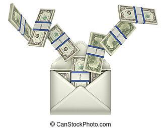 Ohrringe und Geldtransfer - Dollar in Umschlag
