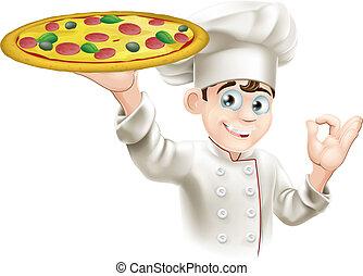 Okay, unterschreib eine Pizza-Chef-Illustration