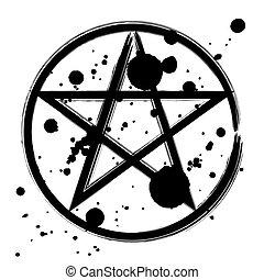 okkulte, symbol, pentagram