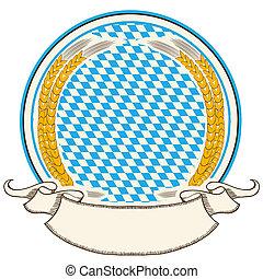 Oktoberfest-Etikett. Bayerns Flaggenhintergrund mit Schriftrolle, isoliert auf Weiß
