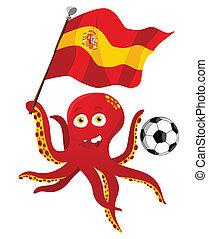 Oktopus-Fußballspieler mit Flagge.