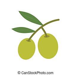 Olive Baum Ast Ikone. Vector Illustration