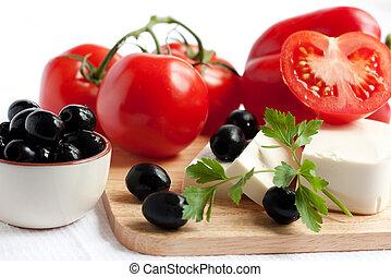 oliven, salat, bestandteile, -, fleischtomaten, kã¤se