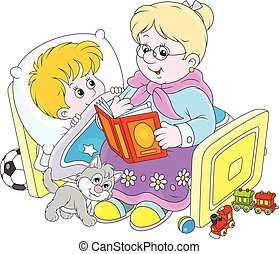 Oma und Enkel lesen Feen.