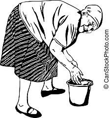 Oma wäscht sich die Hände in einem Eimer