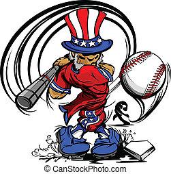 Onkel Sam schwingt Baseballschläger