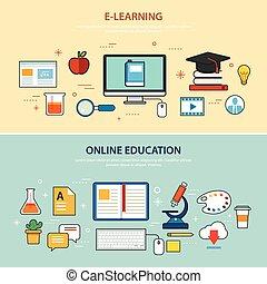 Online-Ausbildung und E-Learning Banner Flat Design Vorlage.