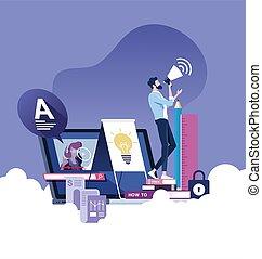 online, begriff, e-lernen, bildung, oder, vektor