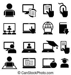 Online-Bilder und Lernsymbole.