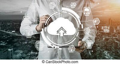 online, daten, anteil, lagerung, global, rechnen, wolke, technologie, informationen