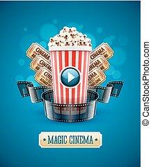 Online-Kino-Kunstfilm mit Popcorn