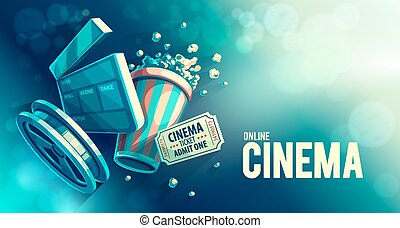 Online-Kino-Kunstfilm mit Popcorn.