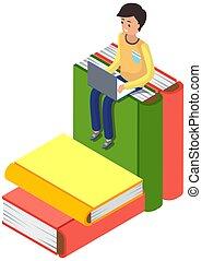 online, laptop., buchausleihe, concept., buecher, dein, stapel, sitzen, lesen, groß, liebe, junger mann