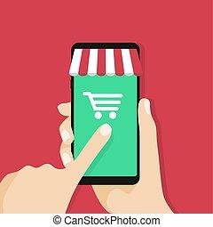 Online Shopping App auf Smartphone-Bildschirm.