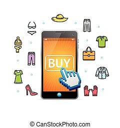Online-Shopping Kleidung mit mobile app. Vector