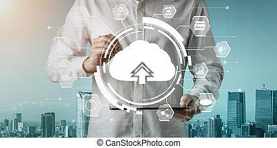 online, technologie, anteil, lagerung, daten, rechnen, wolke, informationen, global