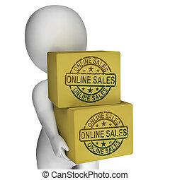 Online-Verkäufe zeigen Kauf und Verkauf im Internet.