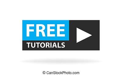 Online Video Tutorials Bildungsknopf. Spiel Unterrichtskonzept. Vector Illustration