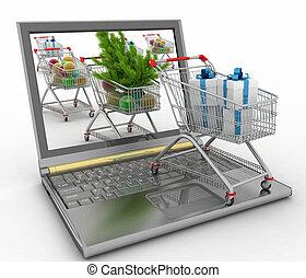 online, weihnachten, shopping.