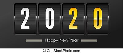 onset, 2020., illustration., uhr, oder, gruß, schnellen, countdown, hintergrund., moment, vektor, schwarz, retro, schablone, jahr, 3d, neu , zählen, weihnachten, karten.
