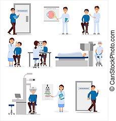 ophthalmic, situations., healthcare, work., vektor, medizin, concept., patienten, profis, satz, wohnung, klinikum, verschieden, abbildung, behandlung, arbeiter