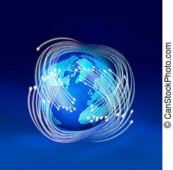 Optikfasern rund um die Erde.