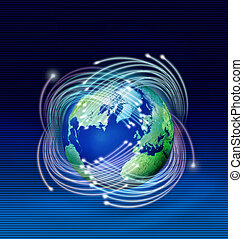 Optische Fasern um den Planeten Erde