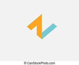 orange, firma, geometrisch, ikone, dein, blaues, farbe, logo, n, abstrakt, volumetrisch, brief