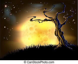 Orange-Halloween-Mondbaum-Hintergrund