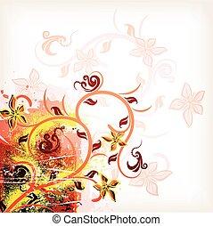 orange, hintergrund., vektor, grunge, blumen-