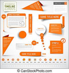 Orange infographic timeline elements / template.