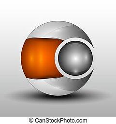 orange, kugelförmig, verschieden, begrifflich, metallisch, design, sections.