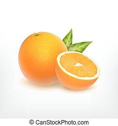 Orange Obst und Orangenschnitt