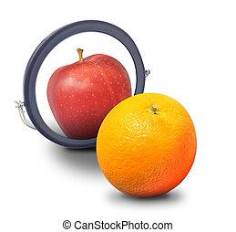orange, schauen, spiegel, apfel