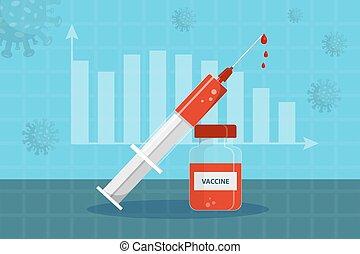orange, style., hintergrund, phiole, diagram., impfstoff, spritze, wohnung, blaues, bestand, vektor, abbildung