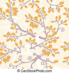 Orangen-Hackhorn-Beeren nahtloser Hintergrund