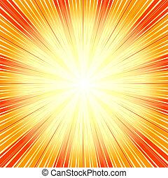 Orangen Hintergrund mit Sonnenausbrüchen abbrechen.