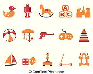Orangen- und rotfarbene Spielzeug-Icons gesetzt.