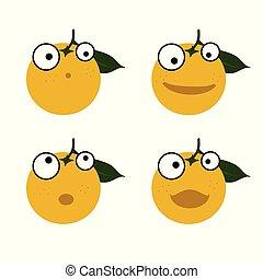 Orangene Emoticons Illustration.